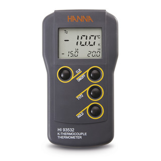 Thermometre compact etanche a thermocouple type K  C/ F  2 canaux  min/max  HOLD  T1/T2  coffret
